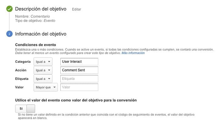 Captura Objetivos Analytics
