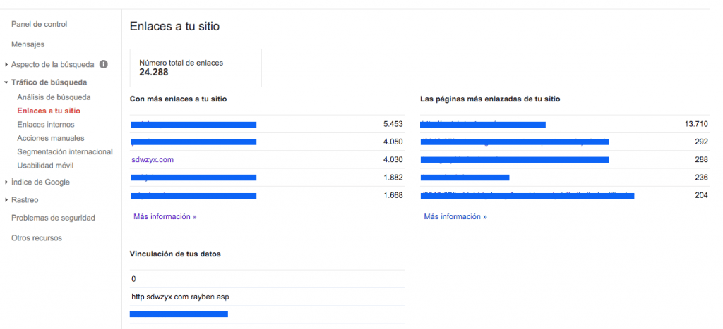 Search Console Enlaces Sitio