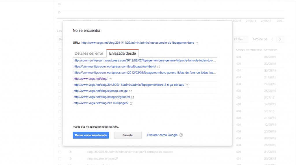 Errores 404 en Search Console