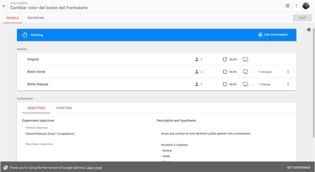 Detalles de un test en Google Optimize