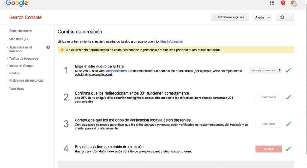 Cambio de dominio en Search Console
