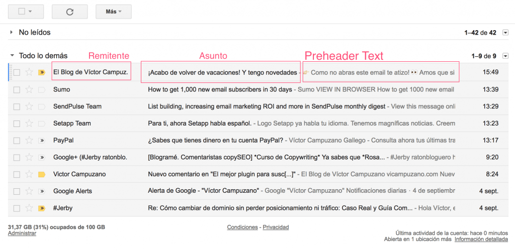 Captura Gmail Preheader Text